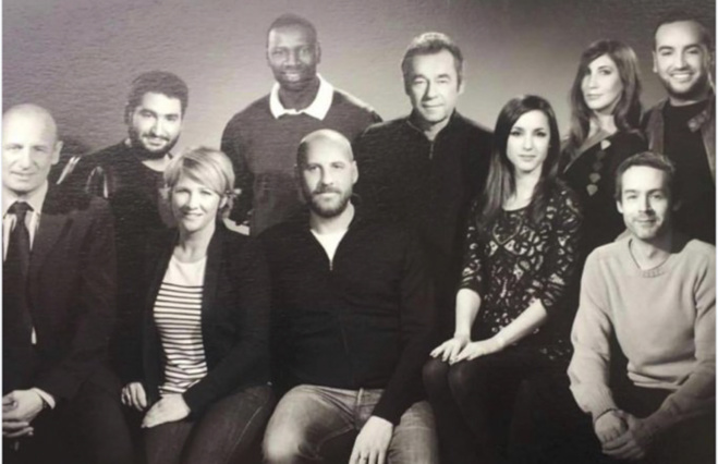 Michel Denisot, Yann Barthès, Omar Sy, Fred Testot, Ariane Massenet, Jean Michel Aphatie et les autres membres de l'équipe du Grand Journal