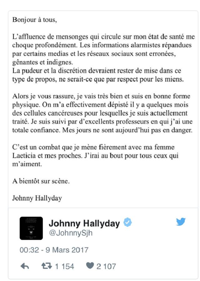 Johnny Hallyday annonce être soigné pour un cancer