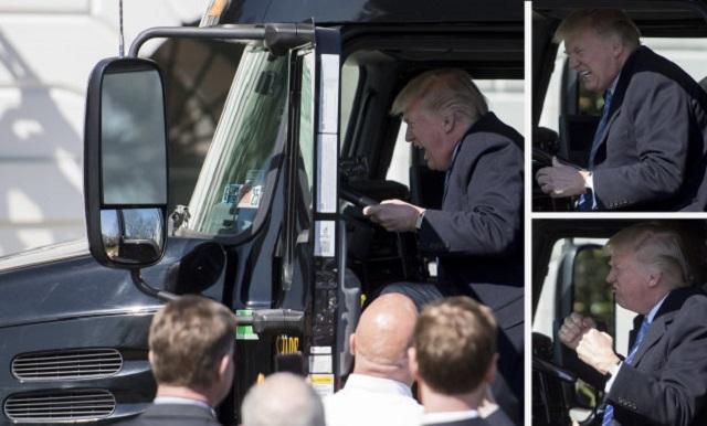 Donald Trump joue au camionneur à la Maison Blanche!