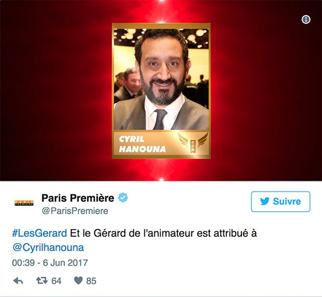 Le «Gérard du pire animateur» est attribué à: Cyril Hanouna