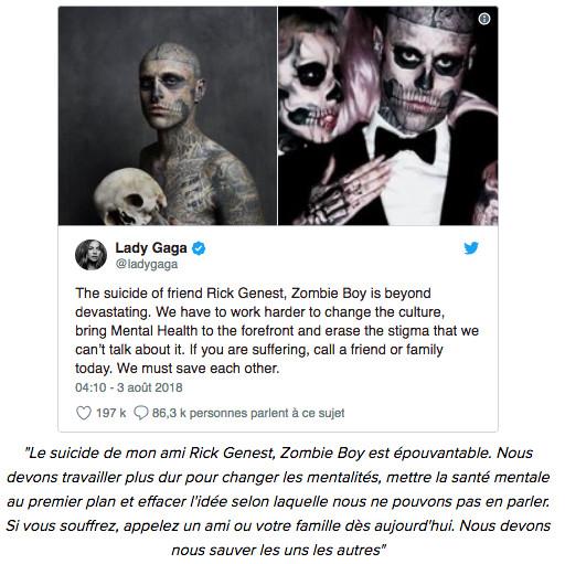 Zombie Boy s'est suicidé à 32 ans. Il laisse un dernier message sur les réseaux sociaux