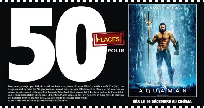 """Cinéma - 50 places à gagner pour """" AQUAMAN """" avec le réseau Mauréfilms"""