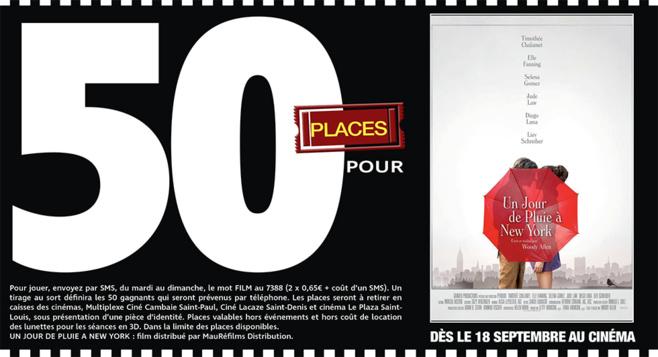 """Cinéma - 50 places à gagner pour """" UN JOUR DE PLUIE A NEW YORK """" avec le réseau Mauréfilms"""