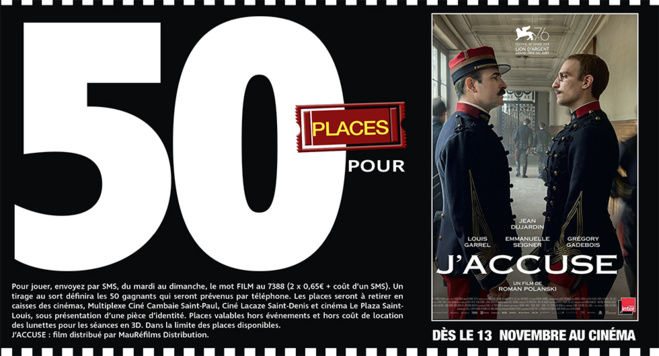 """Cinéma - 50 places à gagner pour """" J'ACCUSE """" avec le réseau Mauréfilms"""