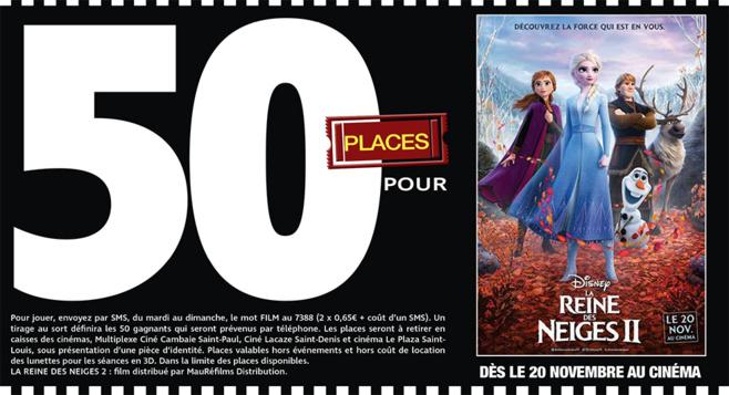 """Cinéma - 50 places à gagner pour """" LA REINE DES NEIGES II """" avec le réseau Mauréfilms"""