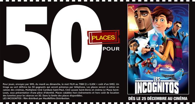 """Cinéma - 50 places à gagner pour """" LES INCOGNITOS """" avec le réseau Mauréfilms"""