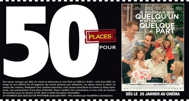"""Cinéma - 50 places à gagner pour """" JE VOUDRAIS QUE QUELQU'UN M'ATTENDE QUELQUE PART """" avec le réseau Mauréfilms"""
