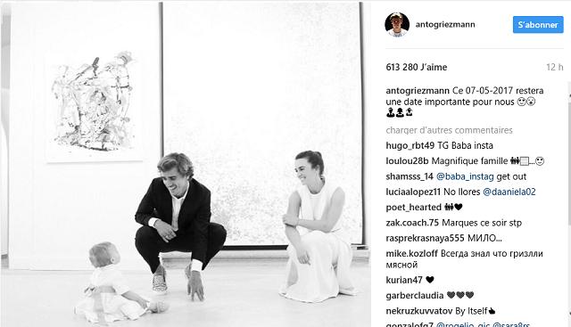 Antoine Griezmann partage un tendre cliché de sa fille Mia le jour de son baptême