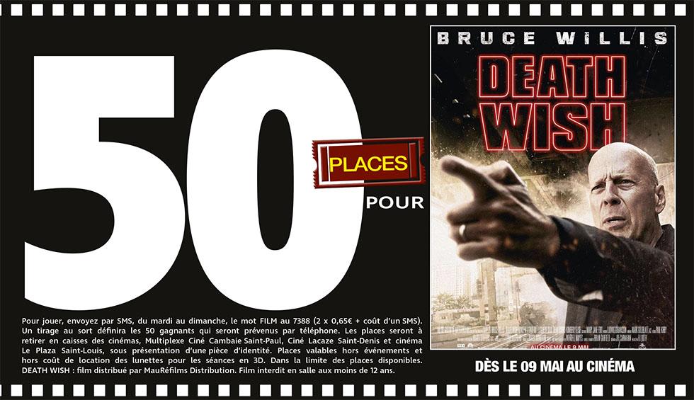 """Cinéma - 50 places à gagner pour """"Death Wish"""" avec le réseau Mauréfilms"""