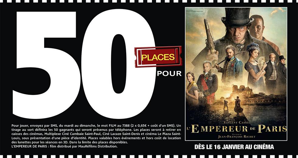 """Cinéma - 50 places à gagner pour """" L'EMPEREUR DE PARIS """" avec le réseau Mauréfilms"""
