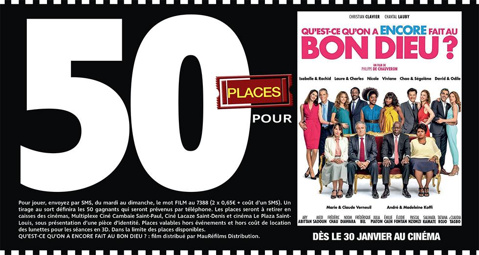 """Cinéma - 50 places à gagner pour """" QU'EST CE QU'ON A ENCORE FAIT AU BON DIEU ? """" avec le réseau Mauréfilms"""