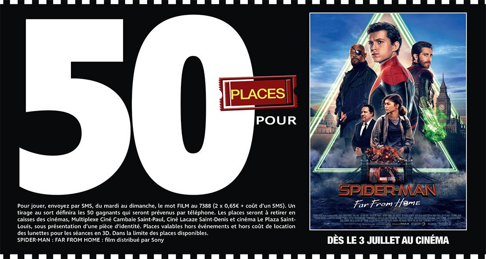 """Cinéma - 50 places à gagner pour """" SPIDER-MAN FAR FROM HOME """" avec le réseau Mauréfilms"""