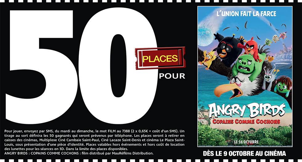 """Cinéma - 50 places à gagner pour """" ANGRY BIRDS : COPAINS COMME COCHONS """" avec le réseau Mauréfilms"""