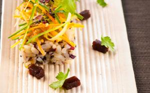 Salade de riz façon sushi et sa gelée d'agar agar coriandre wasabi