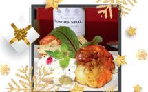Palmiste et mascarpone sur l'idée d'une rémoulade, parfum de la truffe, Camarons snackés au curcuma péï et condiment citron